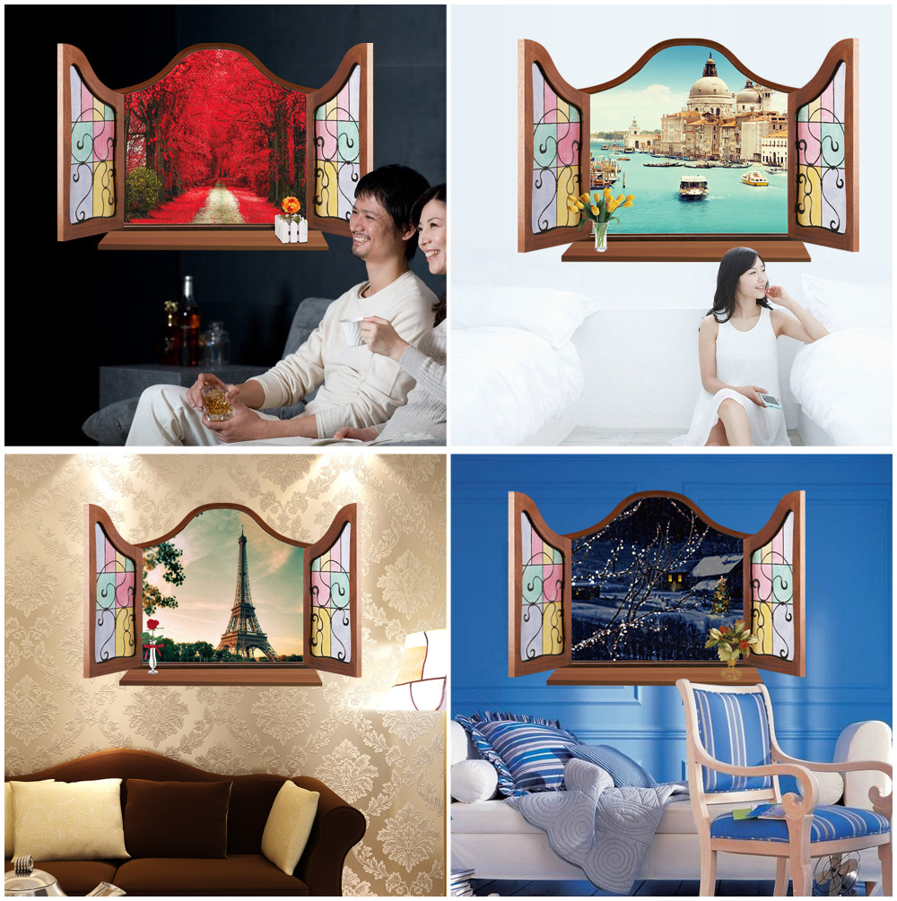 Top 4 Different Patterns Elegant Beautiful Romantic Eiffel Tower 3D Decal Wall Stickers Home Decor Living Room TV Background