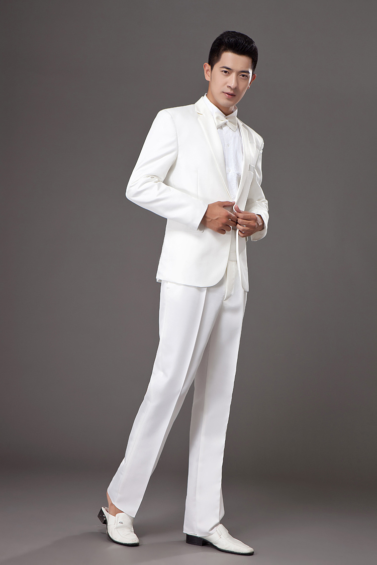 White Classic Tuxedo Trousers for Men made of Polyester Rayon feels like Super s Wool. Pleated front, adjustable waist trousers with a satin stripe on the sides. Pants come unhemmed, unfinished.