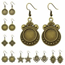 5 Pairs Fit 12mm Round Shape Glass Cabochon Antique Bronze Color Zinc Alloy Dangle Earrings Hooks Cabochon Base Setting