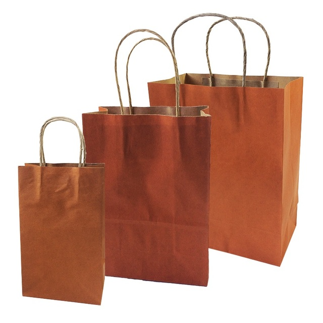orange paper gift bags with handles