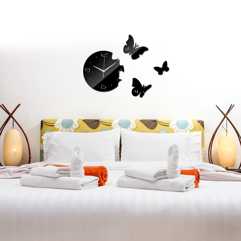 Creative Living room butterfly wall clock Acrylic Bedroom sticker Mirrored gold silver black
