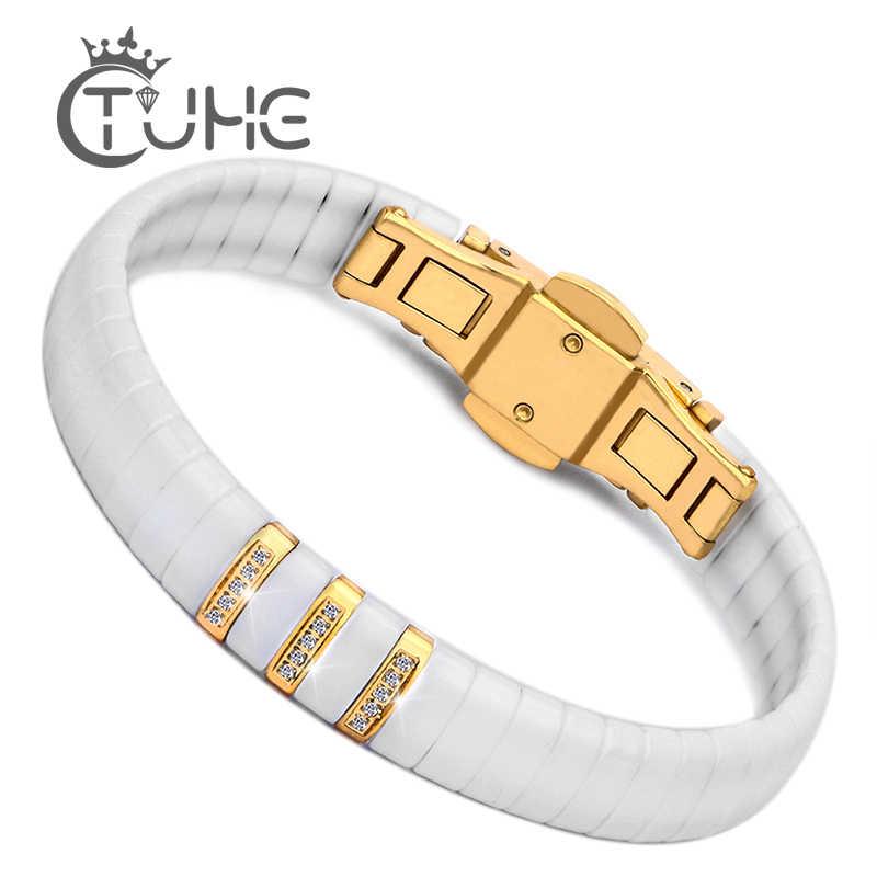 ホット黒、白のセラミックブレスレット男性女性 316L ステンレス鋼クリスタルラインストーンゴールドブレスレットハンドチェーンジュエリー腕時計クラスプ