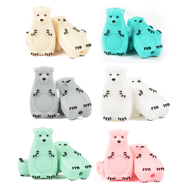 Silicone Beads Mini Animal 10PCS Beads Baby Teether Silicone Teething Beads Polar Bear Pacifier Clip Chew Beads Food Grade