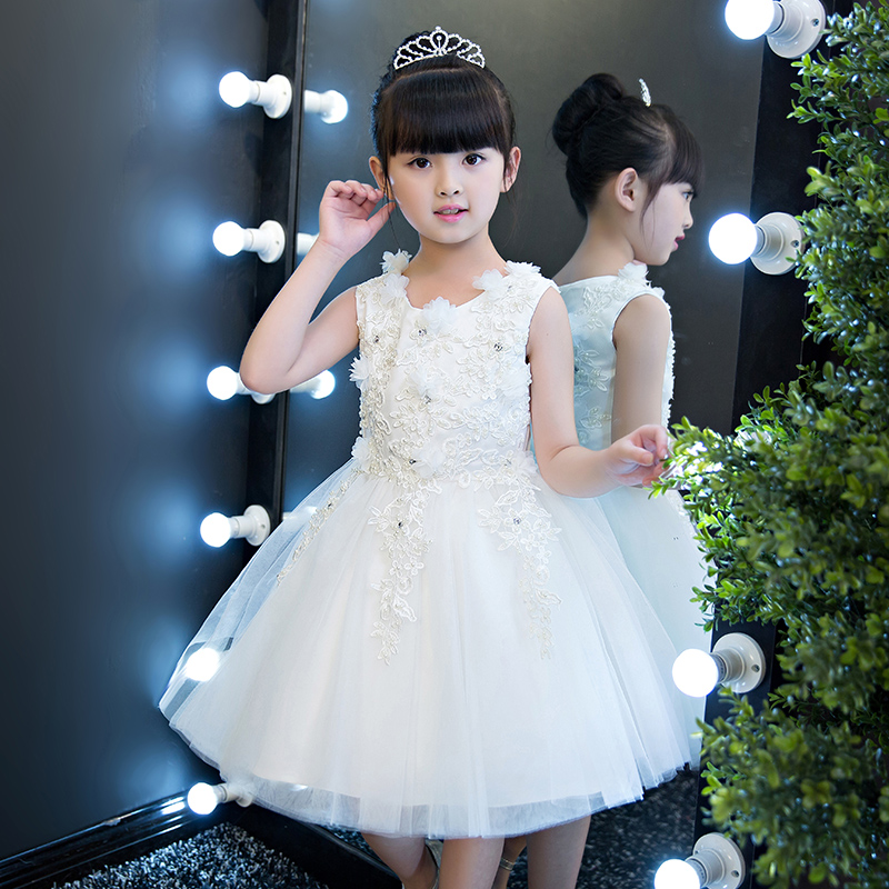 2017Elegant New White Color Girl Ball Gown Dress Kids Sleeveless O Neck Wedding Birthday Party Pageant First Communion Dresses 3000w instant electric shower water heater instant hot faucet kitchen electric tap water heating instantaneous water heater