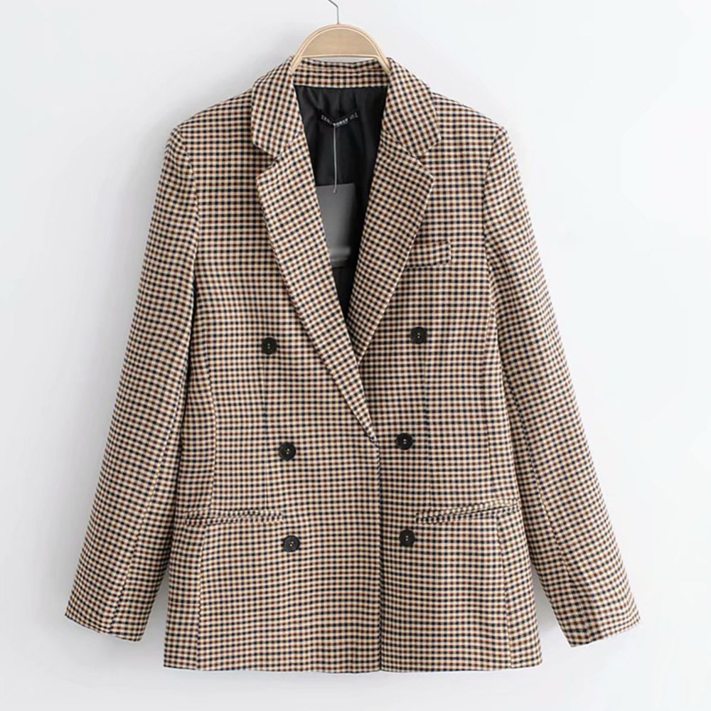 Plaid Women Suits Blazer Autumn Winter 2019 Fashion Blend Coat Loose Houndstooth Overcoat For Ladies Causal Women Suit Blazer