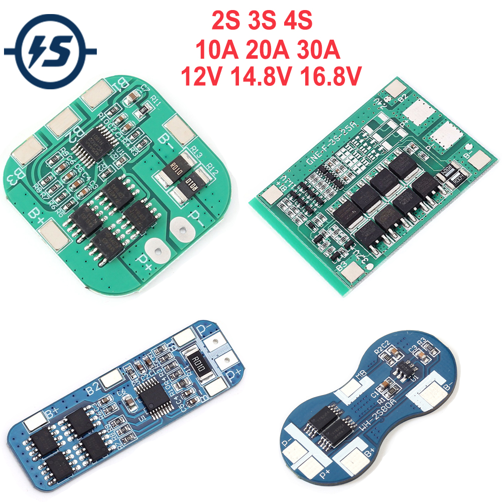 Li-ion Lithium Battery Charger Board Module Protection Board Electronic 2S 3S <font><b>4S</b></font> 10A 20A 30A 12V 14.8V 16.8V <font><b>18650</b></font> image