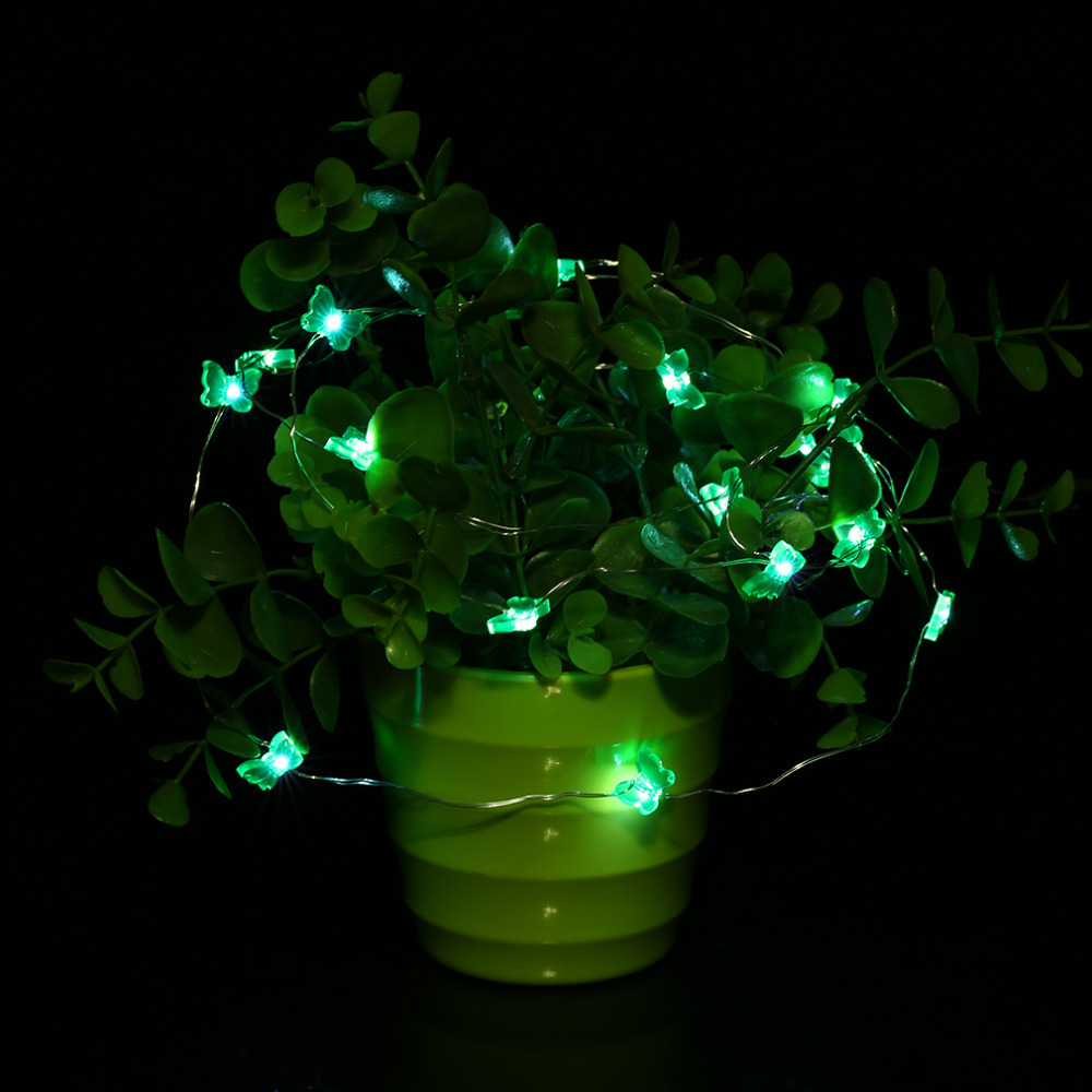 2M 20LED Butterfly Shape Button Battery String Light Indoor Outdoor Party Festival Wedding Party Decoration Fairy String Light