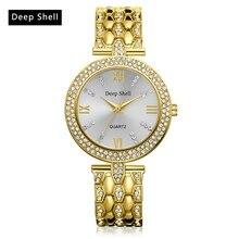 2017 New Brand Deer Shell Gold Watch Women Fashion Luxury Watch Diamond Quartz Ladies WristWatches Women Dress Watches DS004