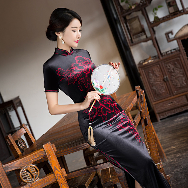 Chinese Women\'s Satin Cheongsam Long Qipao Velvet Silk Dress M XXXL ...