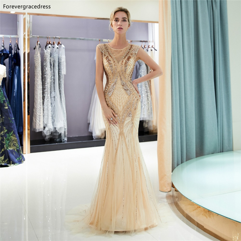 Forevergracedress Luxury Gold   Prom     Dresses   2019 Mermaid Beading Tulle Formal Party Gowns Plus Size Custom Made