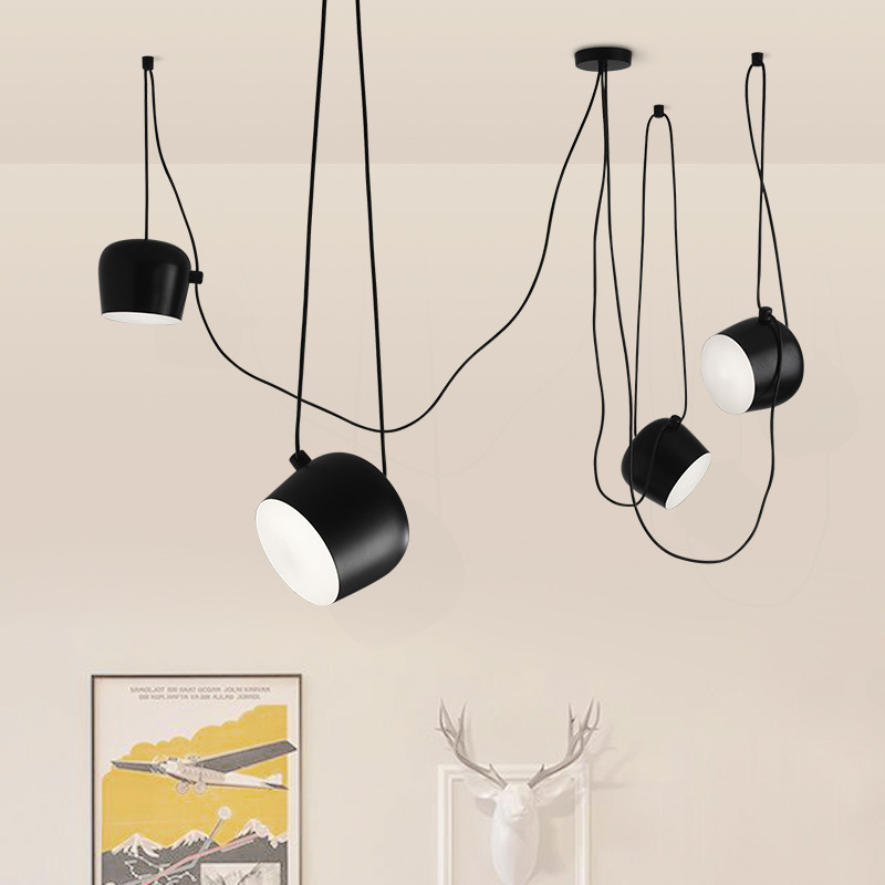 Modern White/Black Body Office Studio Pendant Lamp Parlor Hanglamp Coffee Shop Bar Chandelier Nordic Loft Lamp Free installation