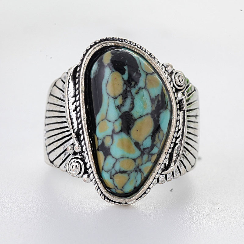 Antique Silver Delbert Gord Turquoises Rings For Women Green Natural Stone Ring Anillos Anniversary Party Jewellery Gifts A4X745