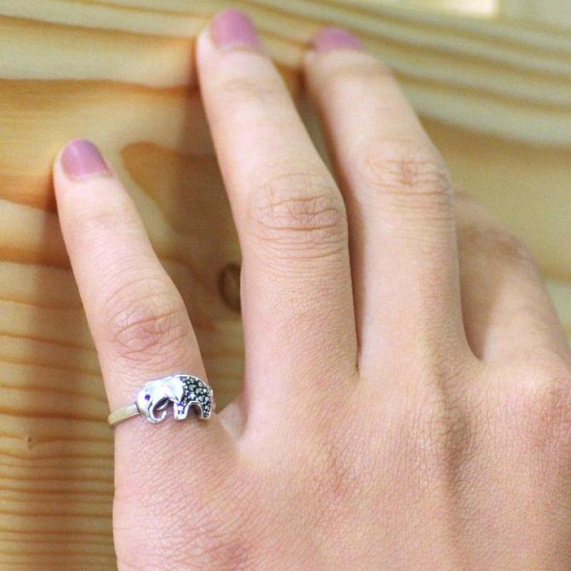 Small Band on Sterling Silver Elephant Ring