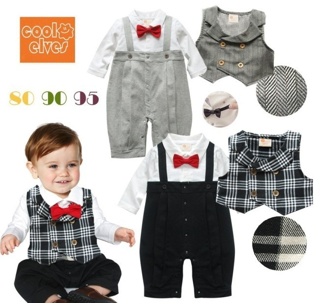 52c10c6a904 Baby clothes gentleman boy Red Tie Clothing Baby Rompers + Waistcoat  Children s Clothing babies Set 2015