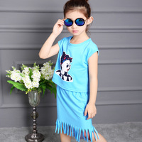 Girls Clothing Sets Summer Fashion Sweet Cartoons Kids Clothes Creative Desigh Lovely Cotton Short Sleeve Top Tshirt +Skirt 2pcs