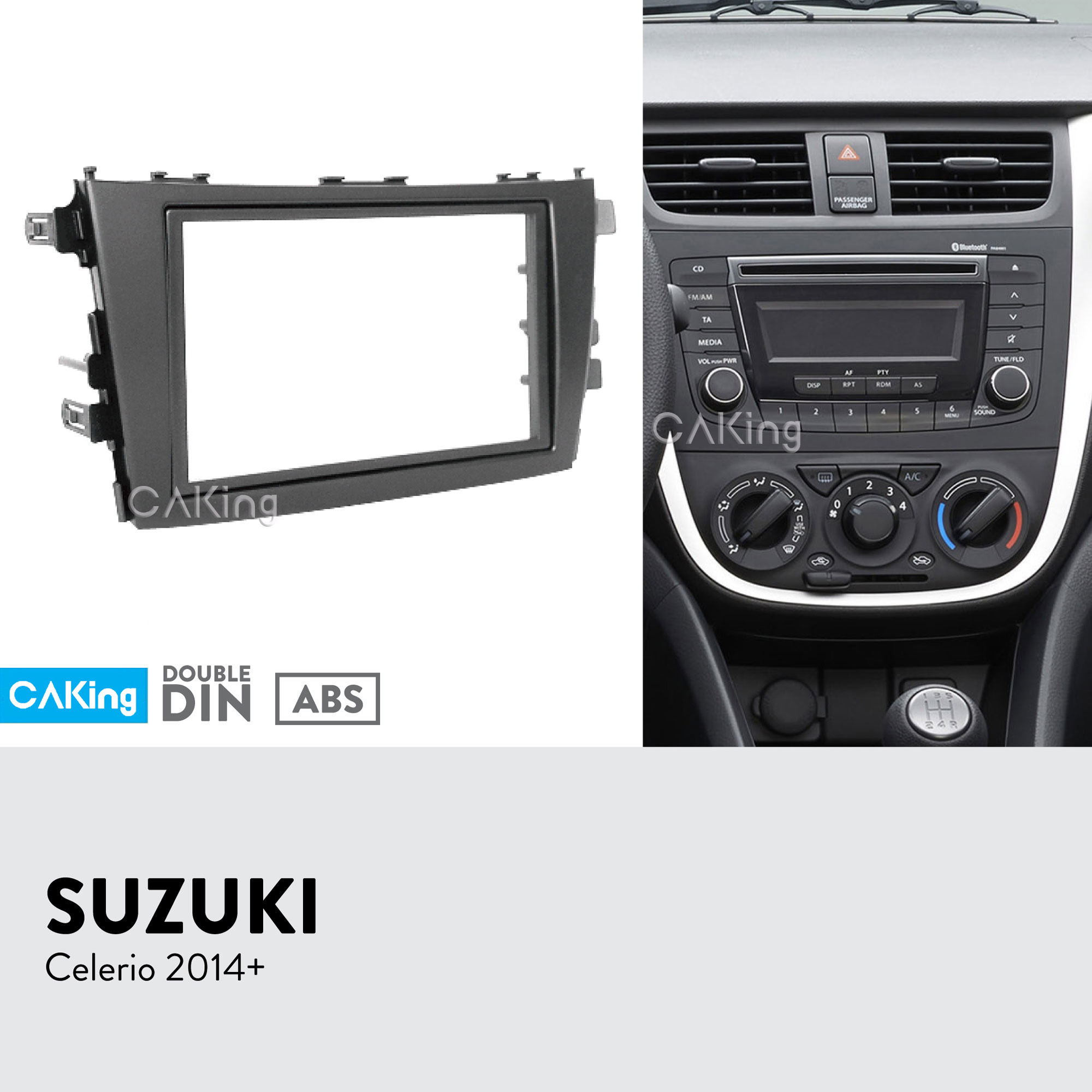 Double Din Car Fascia Radio Panel for SUZUKI Celerio 2014 Dash Fitting Kit Install Facia Plate
