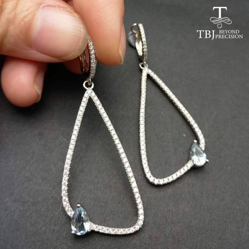 TBJ,Stylish earring in 925 silver with 100% natural aquamarine,simple and elegant earring clip design for ladies with gift box