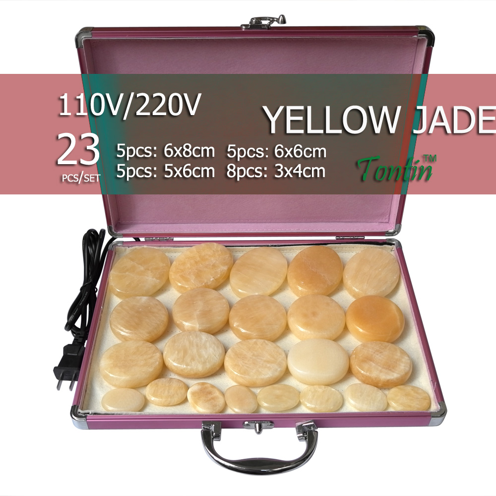 New tontin 23pcs/set yellow jade body massage hot stone face back massage plate salon SPA with heater box