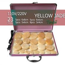 New tontin 23pcs/set yellow jade body massage hot stone face back plate salon SPA with heater box
