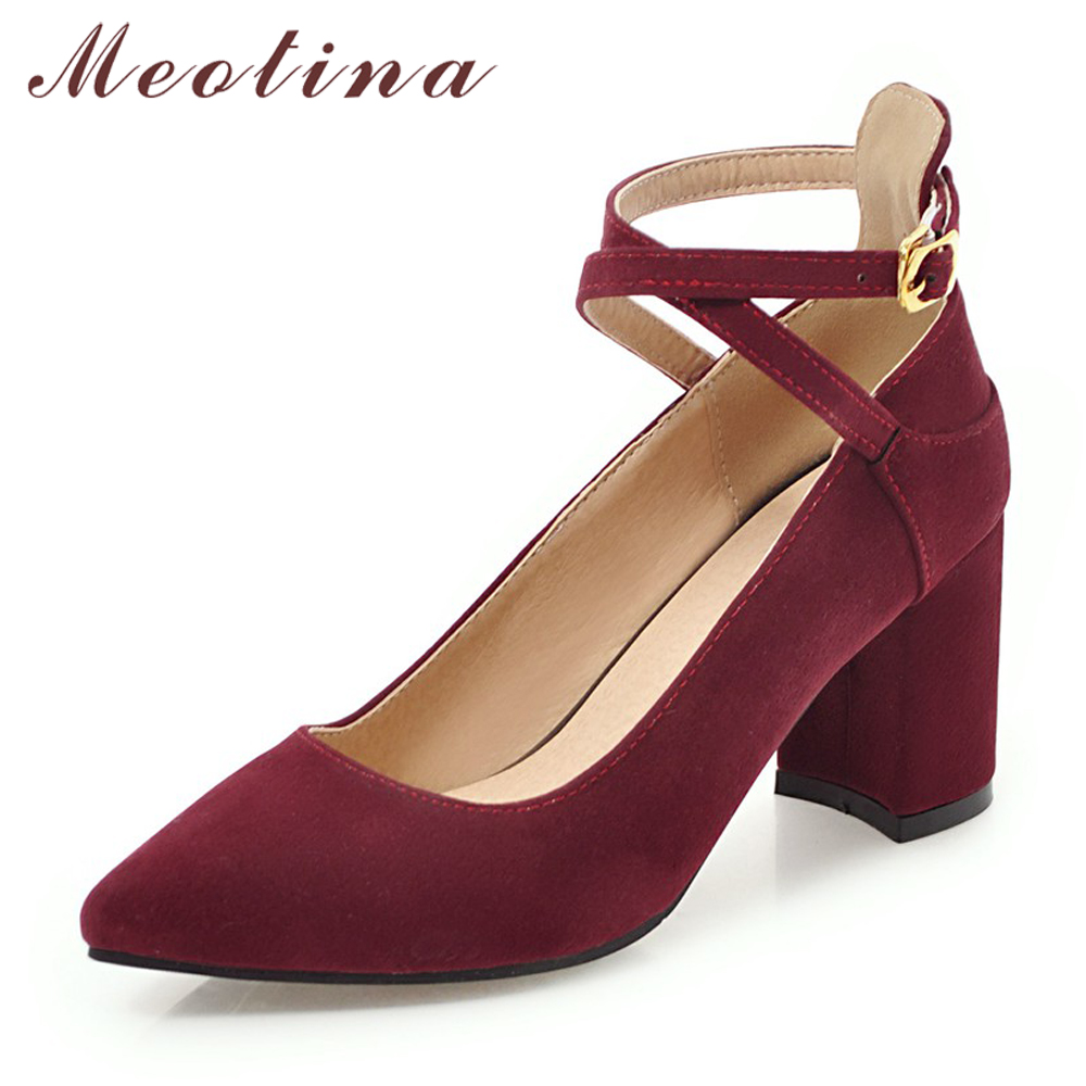Meotina High Heels Ankle Strap Shoes Women Cross-tied Chunky High Heel Shoes Sexy Pointed Toe Party Pumps Lady Spring Size 33-43Meotina High Heels Ankle Strap Shoes Women Cross-tied Chunky High Heel Shoes Sexy Pointed Toe Party Pumps Lady Spring Size 33-43