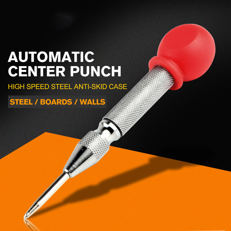 1PCS Automatic Center Pin Punch HSS Center Punching Stator Spring Loaded Marking Drilling Tool New Puncher Drill Bit Tool 5 inch automatic center pin punch spring loaded marking starting130mm center drill high speed steel handlefor metal drilling