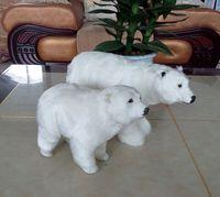 a pair of simulation polar bear toys handicraft resin&fur white polar bear dolls gift 0971