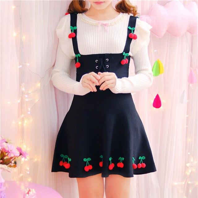 76bd93008 Sweet Young Girl's 3D Cherry Lace up Cute Kawaii Short Jumper Skirts Women's  Suspender Strap Lovely Jumper Skirt knitting JSK