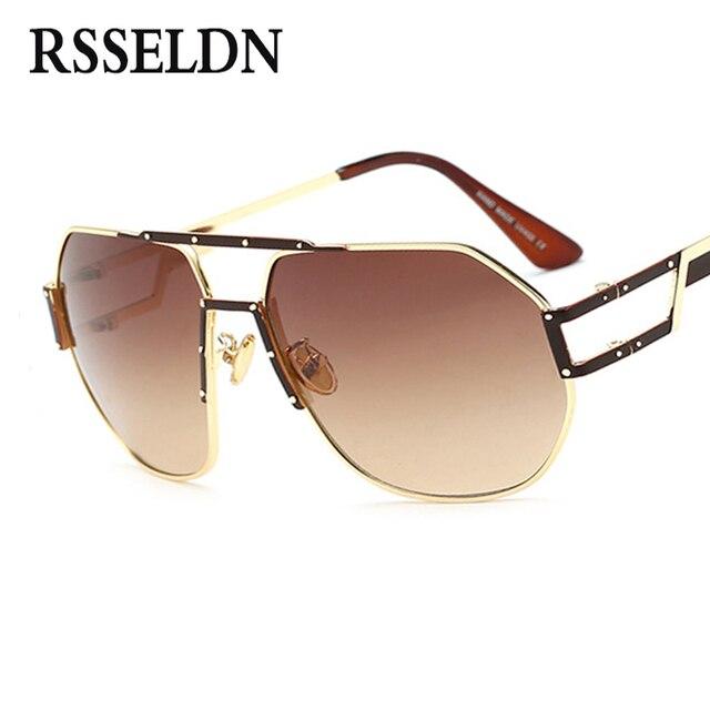 654b0a08b Rsseldn جديد الرجال الذهب معدن إطار نظارات المرأة الكبيرة الفاخرة عالية  الجودة uv400 2018 أزياء النظارات
