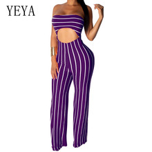 YEYA Sexy Cropped Umbilical Jumpsuits Women Elegant Off Shoulder Sleeveless Striped Loose Playsuits Summer Holow Out Wear