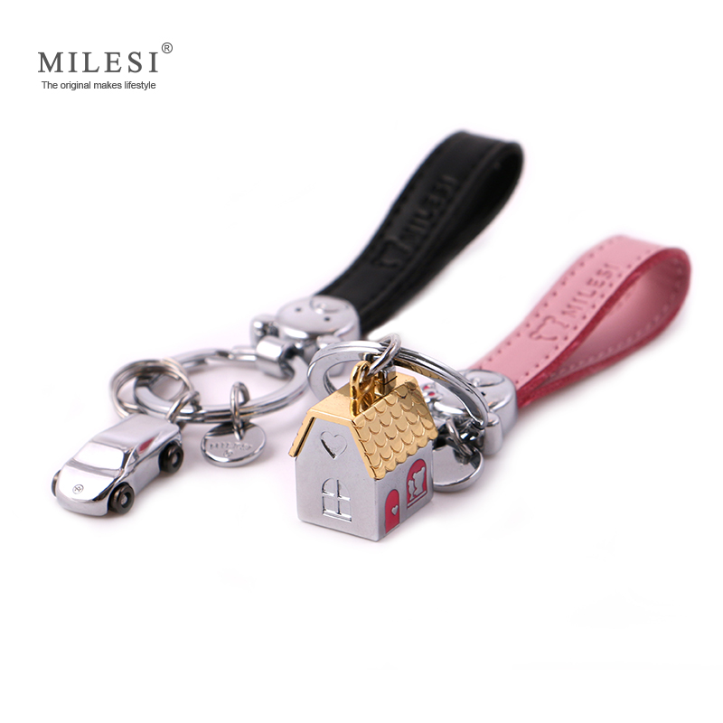 Milesi House Keychain And Car Outdoors Shaped Fashion Keychains Fashion Car Keyring Lover Wedding Gift K0209