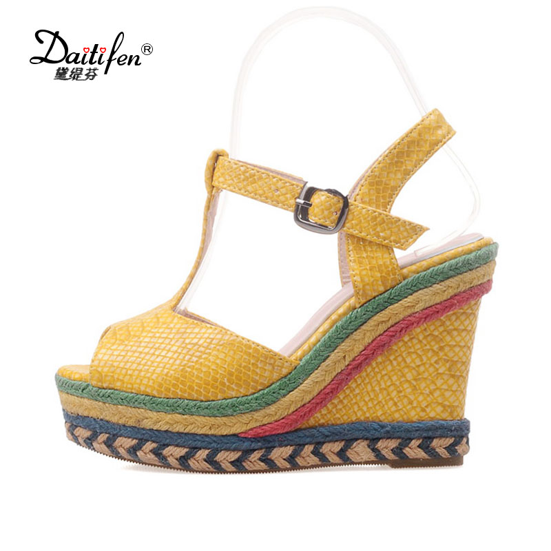 Daitifen women T-Strap sandals Summer sexy Peep toe sandalias mujer high heel Wedge sandals Party lady Slingback Platform shoes 2018 summer new arrived strap design wedges women sandals peep toe comfort mid heel sexy lady sandal fashion student casual shoe
