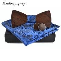 Mantieqingway Hommes de Cravate Ensemble Formelle Bois Cou Nœud Papillon Cravate Mouchoirs Manchette Liens D'affaires Polyester Liens Boutons De Manchette De Mariage