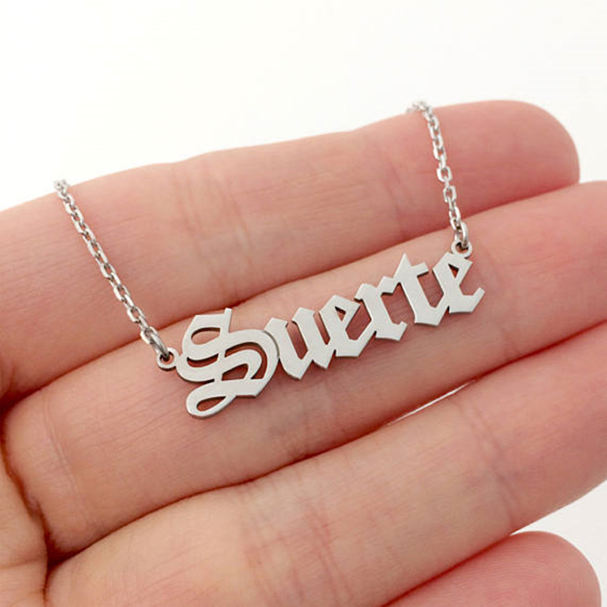 Wedding Jewelry Personalized Name Gold Old English Necklace Stainless Steel Silver Chain Custom Font Necklace For Women Men