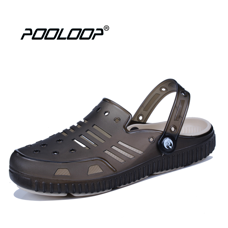 POOLOOP Mens Casual Garden Clogs 2018 Slip On Beach Sandals Breathable Men Soft Working Shoes Summer Fishing Sandals Crocus