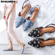 TINGHON Luxury Star Rivets Flats Shoes for Women Pointed Toe Vintage Slingbacks Buckle Strap Mules