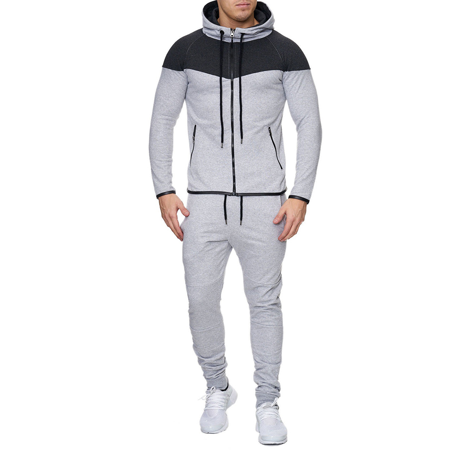 ZOGAA 2019Hot Sale Mens FASHION Normcore  Sweatsuit Set Casual Cotton Zipper 2 Piece Sportswear Clothing Tracksuit