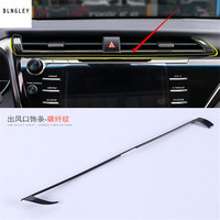1pc carbon fiber car stickers Central control air conditioning outlet decation cover sequins for 2017 2018 Toyota Camry MK8