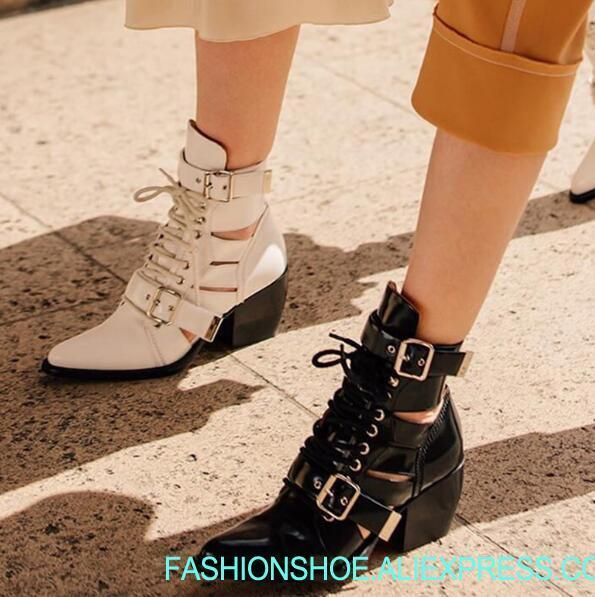 punk woman pointed toe low heel ankle boots Black metal belt buckle hollow ankle boots real photos Hollow Knight woman boots elastic vintage hollow out metal buckle belt