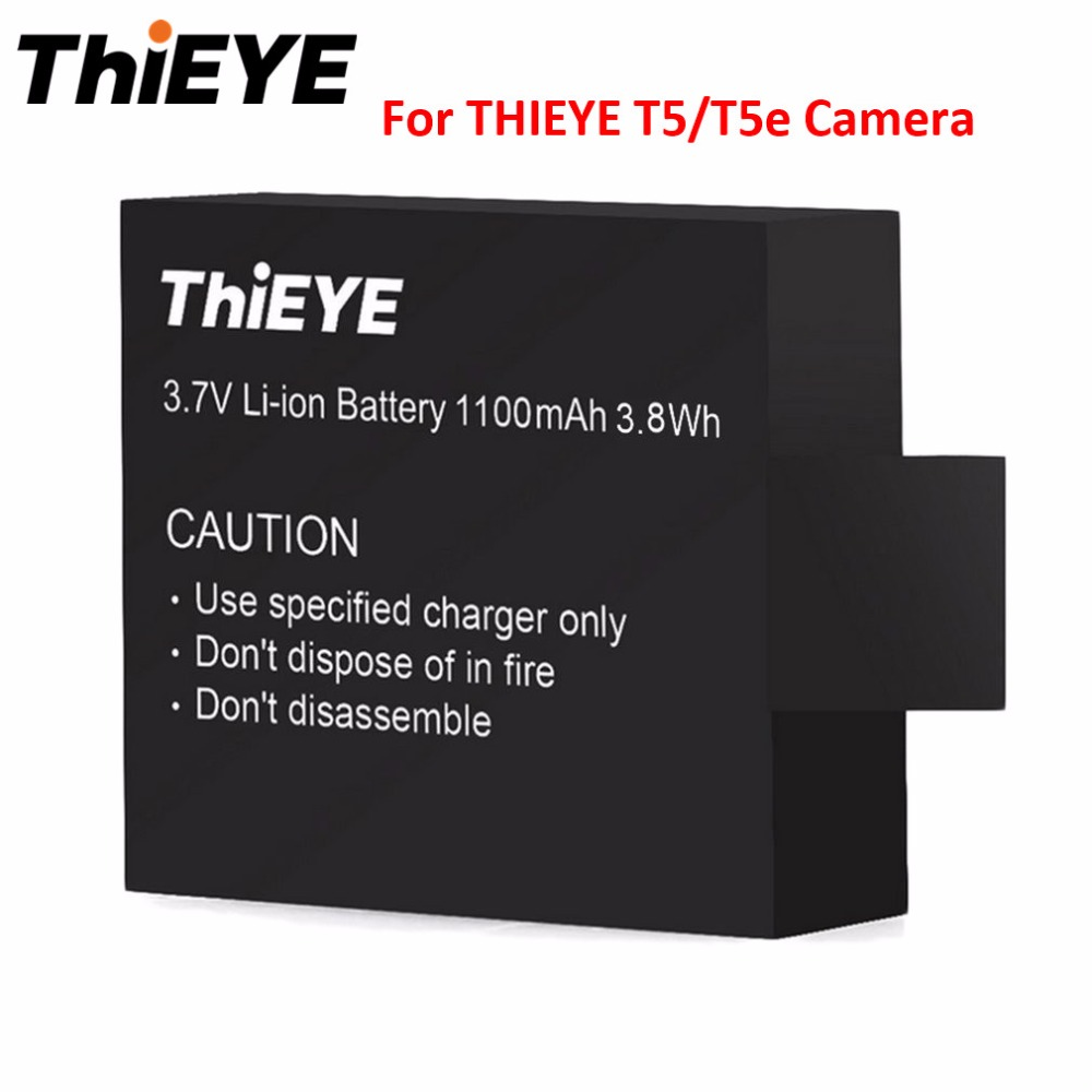 THIEYE 3.7V 1100mAh Rechargeable Battery Li-ion Replacement Battery for THIEYE T5/T5e Action Camera batteries total english intermediate workbook cd rom