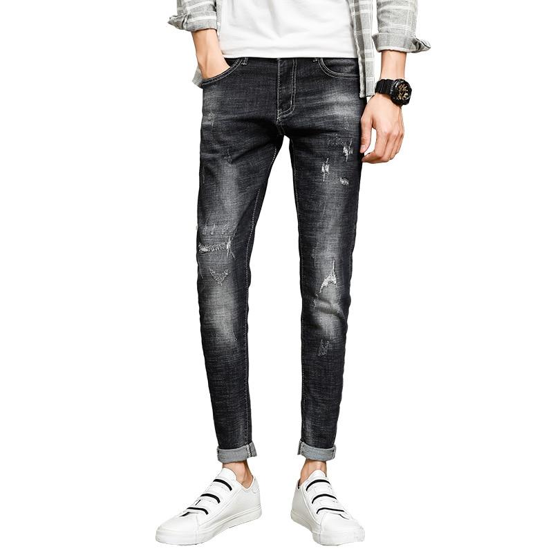 2018 new mens jeans stretch mens jeans Slim pants pants hole nine pants harem pants