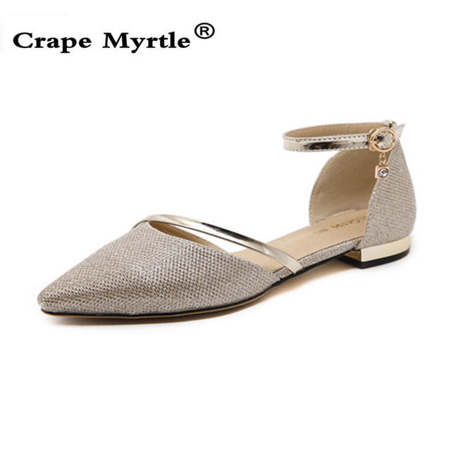 7c7ae7bf9613 Fashion 2019 Gold   Silver Flat Shoes Women Ankle Strap Sandals Pointed Toe  Sandals Rhinestone Ladies Shoes for Women NL013
