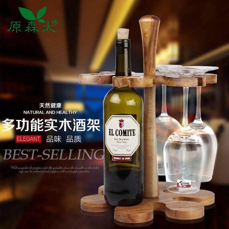 Wood Whisky Bottle Holder Ideas: Super Qualiy Creative Acacia Wood Bar Beer Wine Rack, Wine