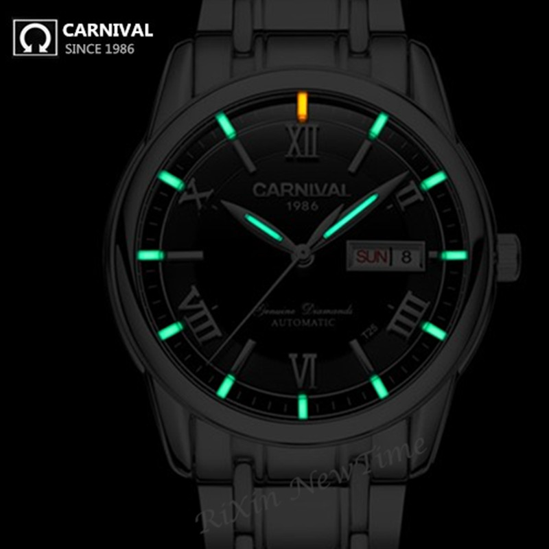 Carnival Watch Military tritium T25 luminous watch men luxury brand automatic mechanical watches full steel waterproof watches