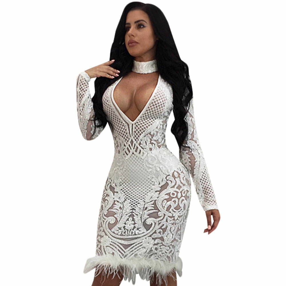 48cf60f884ac0 Black White Sequin Dress Women V Neck Tassel Mesh Club Bodycon Dress Autumn  Long Sleeve Elegant Celebrity Party Dresses Vestidos