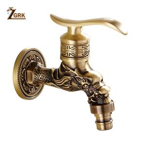 Image 4 - ZGRK grifo de latón frío para baño, grifos de jardín para exteriores, fregona para máquinas de lavado, grifo decorativo antiguo