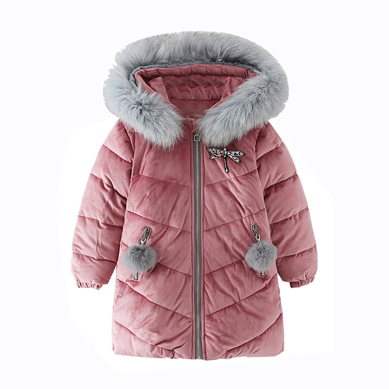 Rlyaeiz 2018 Winter Jackets For Girls Cute Fur Collar Hooded Parka Coats Gold Velvet Cotton-padded Warm Girl's Mid-long Outwear женская утепленная куртка shang feier 4055 2014women winter cotton padded jackets coats slim parka