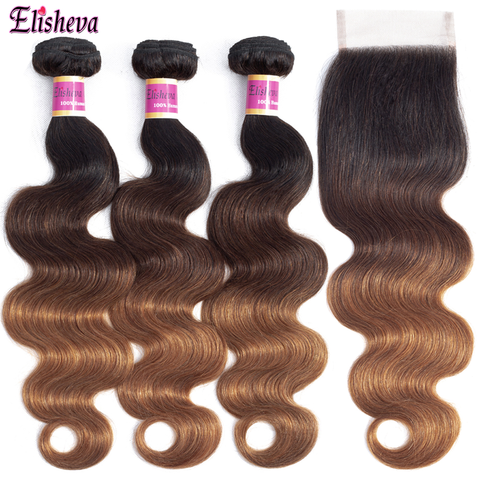 Elisheva Ombre Bundles with Closure 1B 4 30 Colored Ombre Remy Body Wave Brazilian Hair Ombre