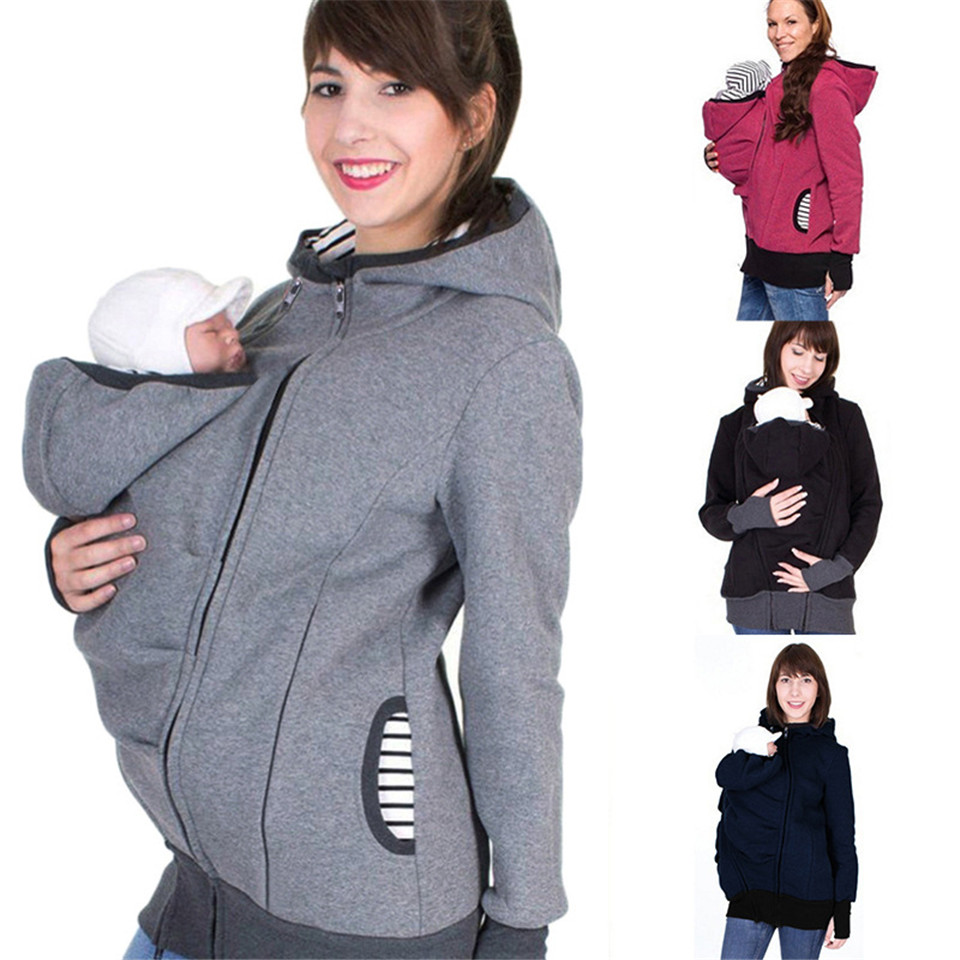 9d19f5594ea S-2XL Baby Carrier Jacket Kangaroo Hoodie Winter Maternity Hoody Outerwear Coat  For Pregnant Women Carry Baby Pregnancy Clothing