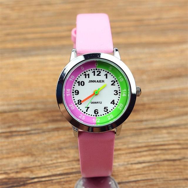 new arrived kids cartoon pink and green dial quartz watch little student high qu