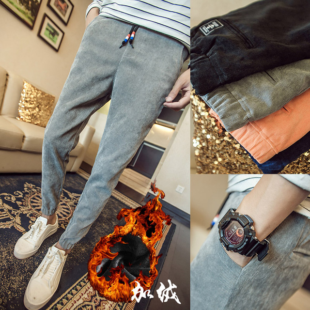 2016 New Arrival Pants Mens Tracksuit Cotton Fitness Skinny Joggers Corduroy Sweat Pants Pantalones Hombre High Quality 5XL